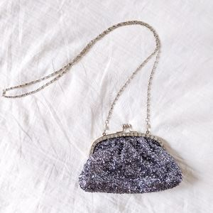 silver sequin evening bag with rhinestones